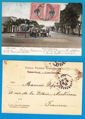 PERU PPC 1906 Lima to France