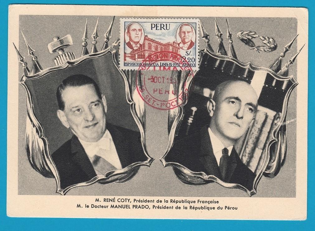 PERU maximum card 1957 Franch Exhibition in Lima