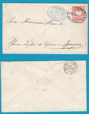 PERU postal envelope 1889 Lima to Iquique