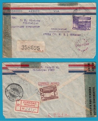 PERU R censor cover 1944 Chiclaya to Aruba