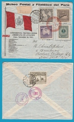 PERU R cover 1937 Lima aviation conference to USA