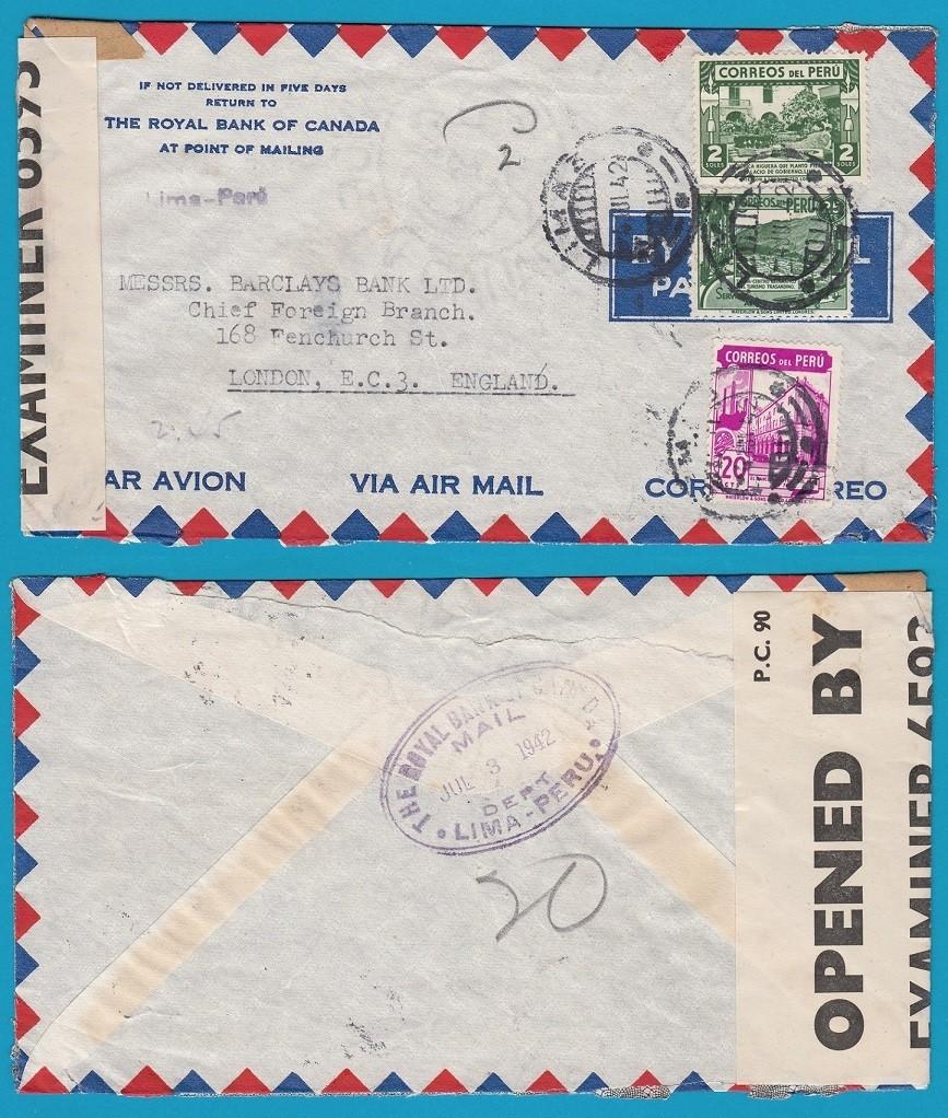 PERU censored air cover 1942 Lima to England