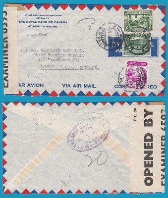 PERU censored air cover 1942 Lima to England