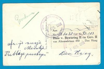 NEDERLAND prentbriefkaart 1958 Zetten naar Den Haag gevangenis