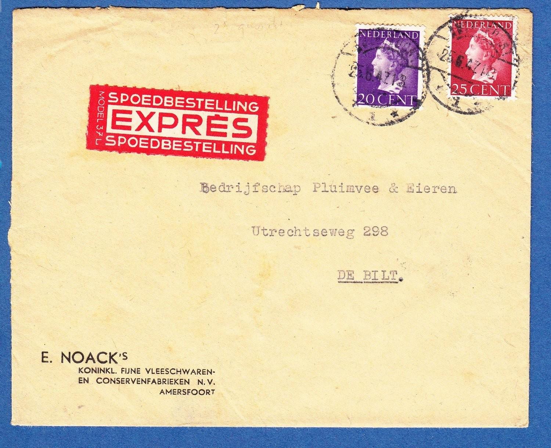 NEDERLAND expres brief 1947 Amersfoort naar de Bilt