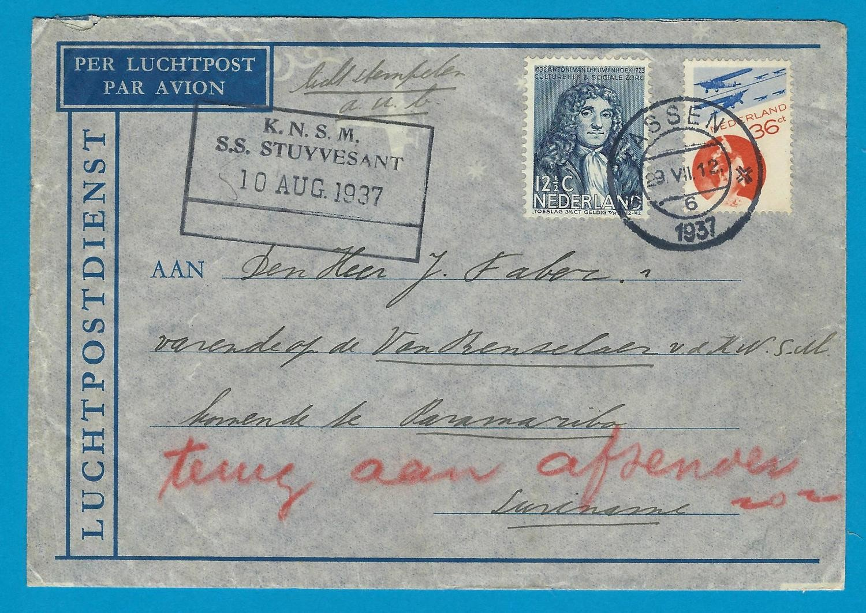 NEDERLAND lp brief 1937 Assen naar Suriname retour per KNSM