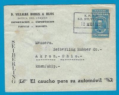 VENEZUELA cover 1938 by KNSM S.S. Stuyvesant to USA