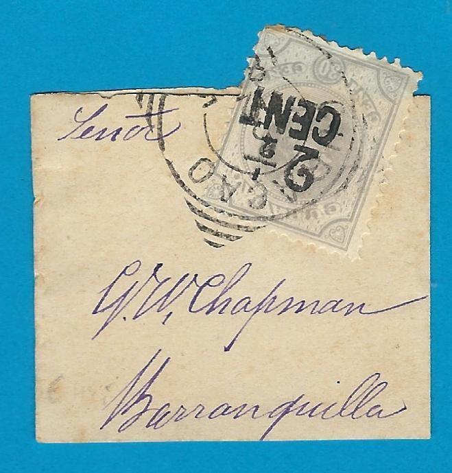 CURAÇAO klein krantenbandje 1895(?) naar Colombia