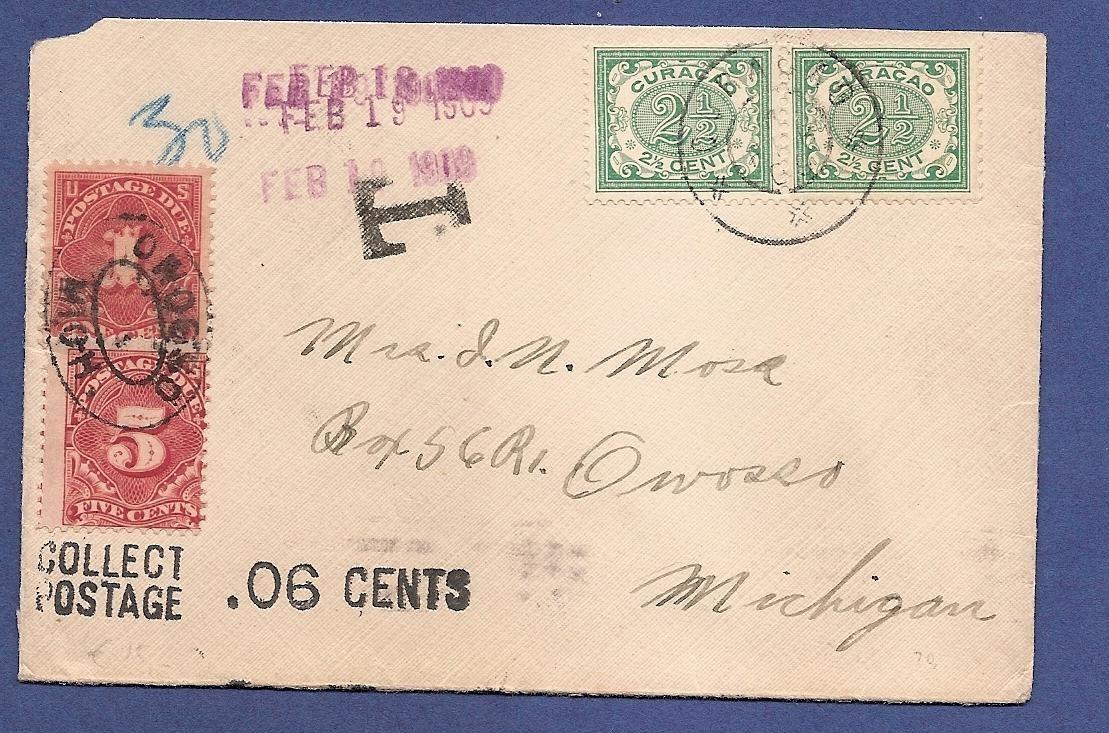 CURAÇAO briefje 1909 naar USA met port belast