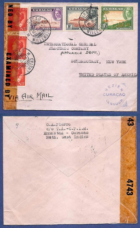 CURAÇAO censuur lp brief 1943 Curaçao naar USA