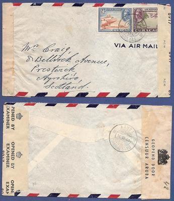 CURAÇAO censuur lp brief 1943 Aruba naar Schotland
