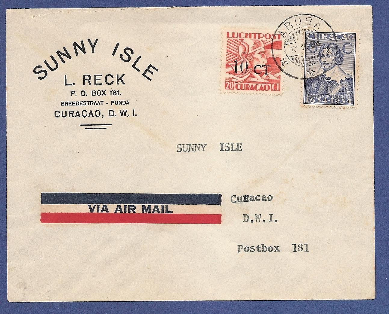 CURAÇAO luchtpost brief 1934 Aruba naar Curaçao