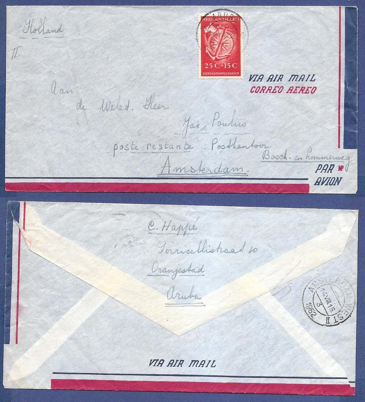 CURAÇAO lp brief 1952 Aruba naar Nederland