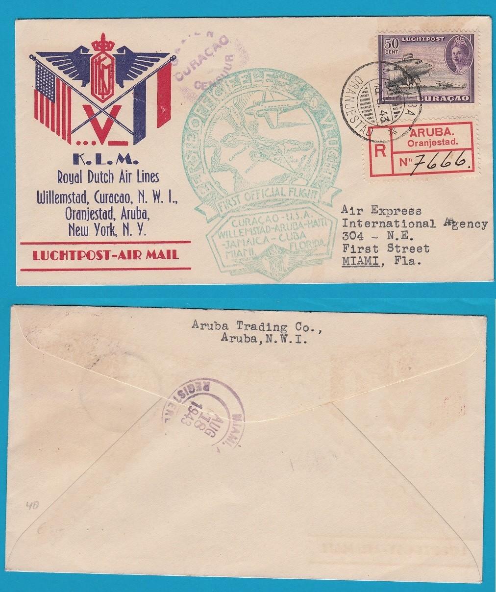 CURAÇAO R lp brief 1943 Aruba naar USA