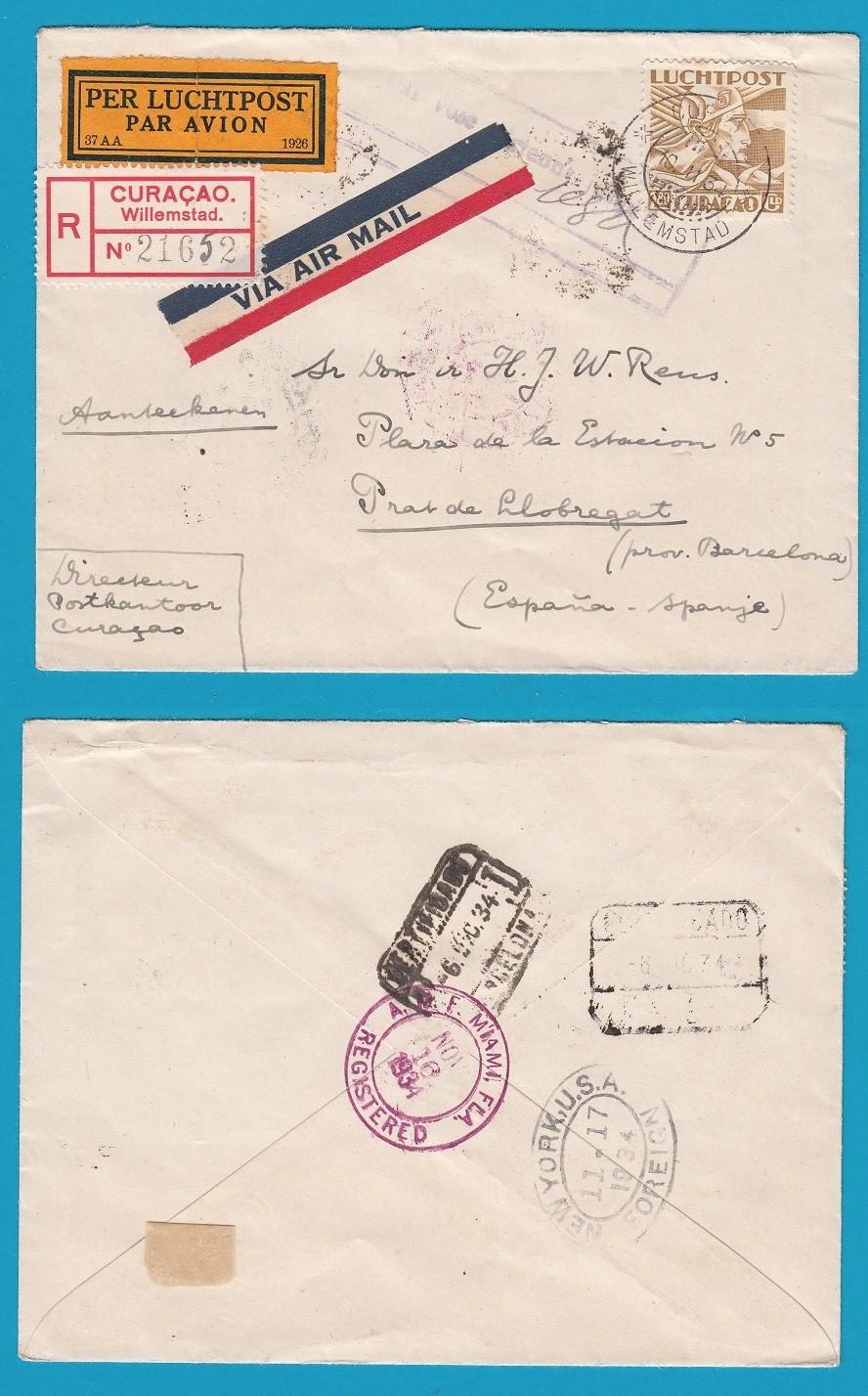 CURAÇAO R lp brief 1934 Willemstad naar Spanje