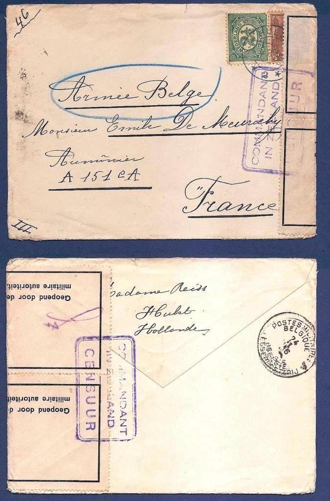 NEDERLAND gecensureerde brief 1916 Hulst naar Frankrijk