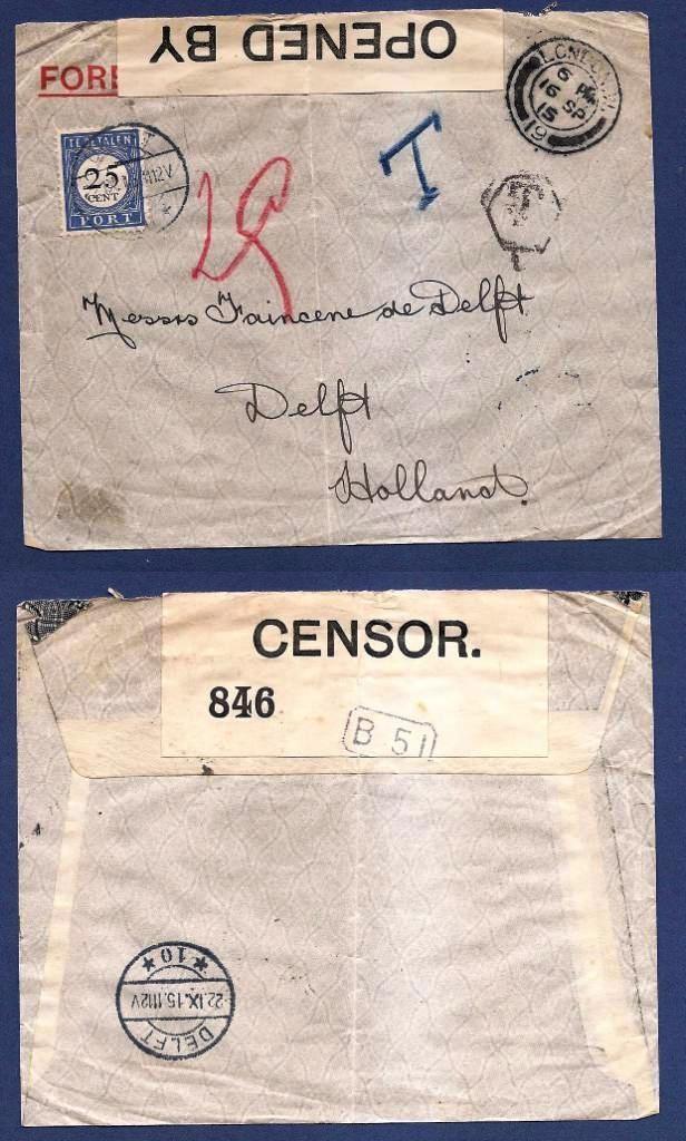 NEDERLAND brief 1915 London met censuur en beport Delft