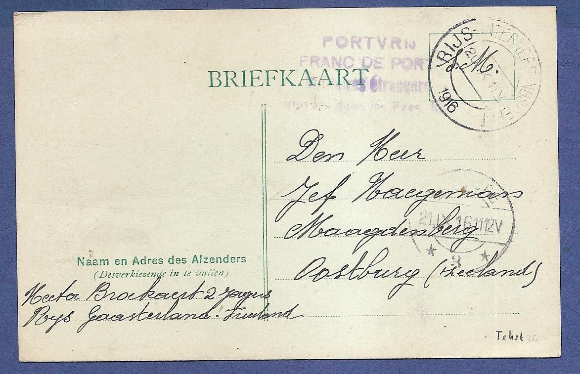 NEDERLAND kaart 1916 Rijs-Internerings Depot naar Oostburg