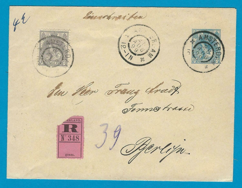 NEDERLAND R envelop 1899 Amsterdam naar Duitsland