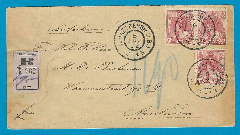 NEDERLAND R brief 1902 Schaesbergh (LB:) naar Amsterdam