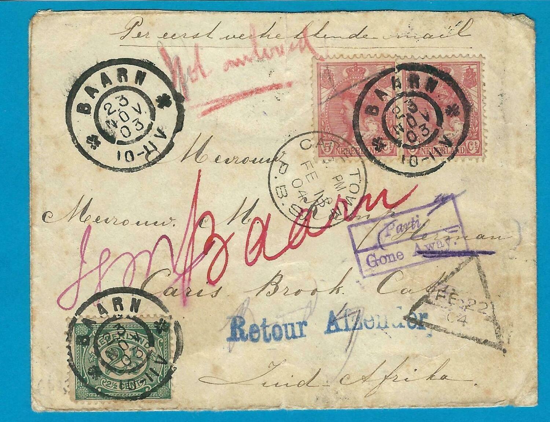 NEDERLAND zwerfbrief 1904  Baarn naar Z-Afrika en retour