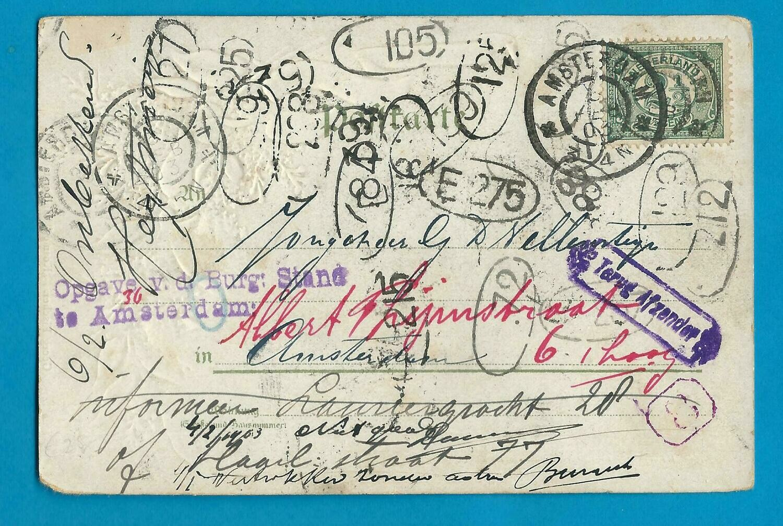 NEDERLAND zwerfkaart 1902 Apeldoorn naar Amsterdam