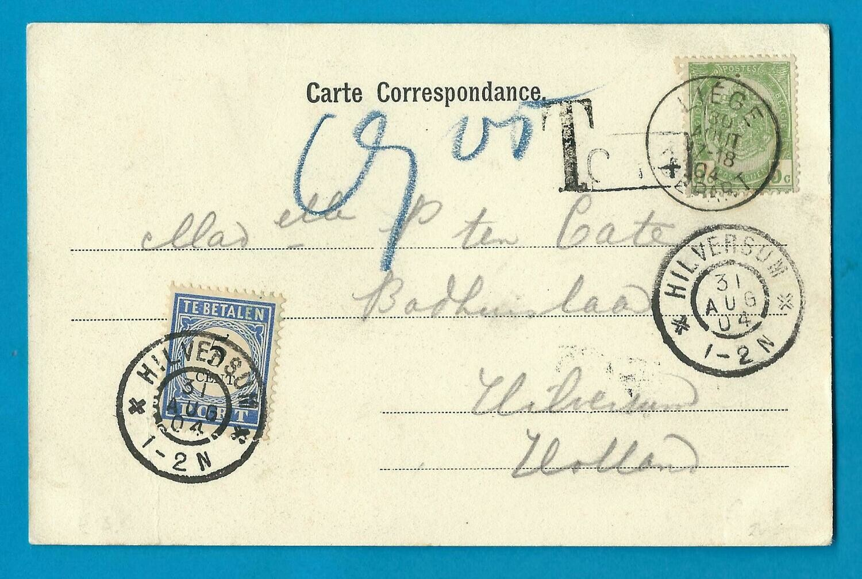 BELGIË prentbriefkaart Luik 1904 naar Hilversum met port belast