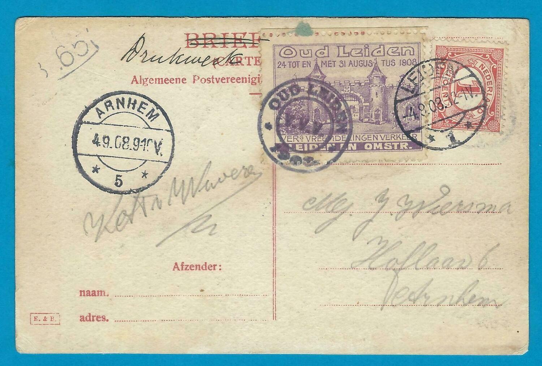 NEDERLAND prentbriefkaart 1908 Leiden met vignet