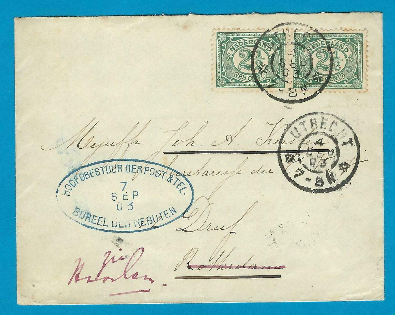NEDERLAND brief 1903 Utrecht naar Rotterdam-Haarlem Rebut