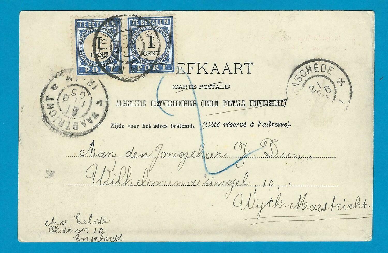 NEDERLAND prentbriefkaart 1905 Enschede beport Maastricht