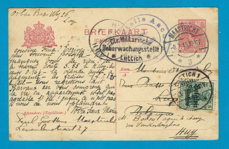 NEDERLAND briefkaart 1915 Maastricht naar Luik en doorgezonden