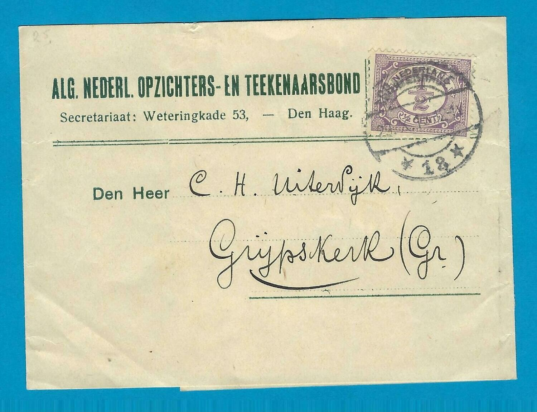 NEDERLAND krantenbandje 1915 Den Haag Tekenaars bond