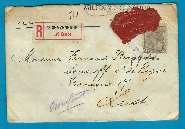 NEDERLAND R brief 1915 Den Haag met lakcensuur naar Zeist
