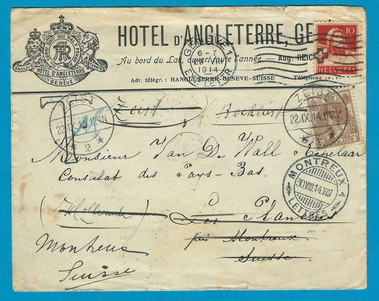 ZWITSERLAND brief 1914 Geneve naar Zeist en doorgezonden