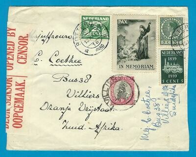 NEDERLAND brief 1939 Rotterdam naar Z-Afrika met PAX label
