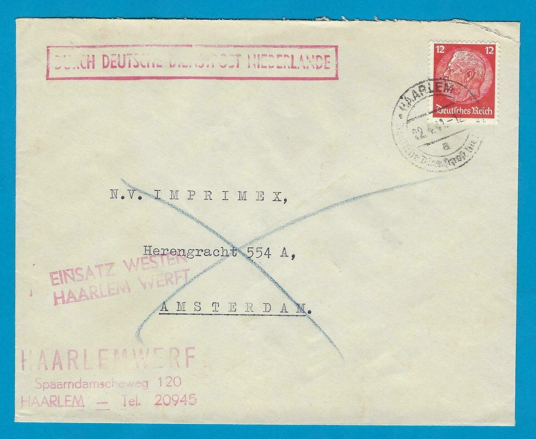 NEDERLAND Duitse Dienstpost 1941 Haarlem naar Amsterdam