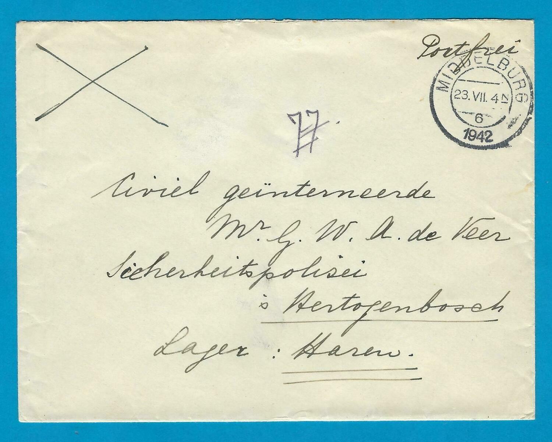 NEDERLAND brief 1942 Middelburg naar civiel geïnterneerde kamp Haren