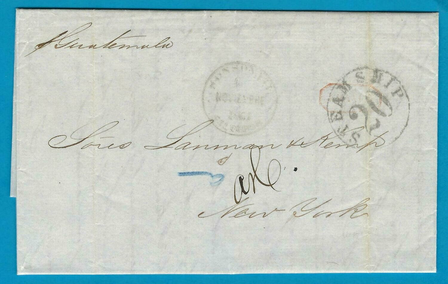 EL SALVADOR entire 1864 Sonsonate to USA
