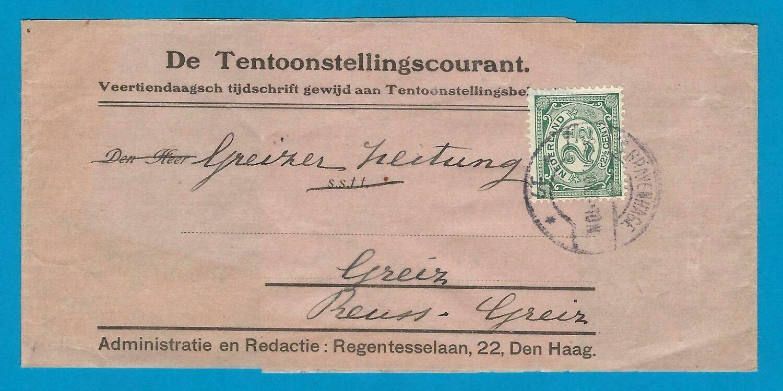 NEDERLAND krantenbandje 1908 's Gravenhage naar Greiz