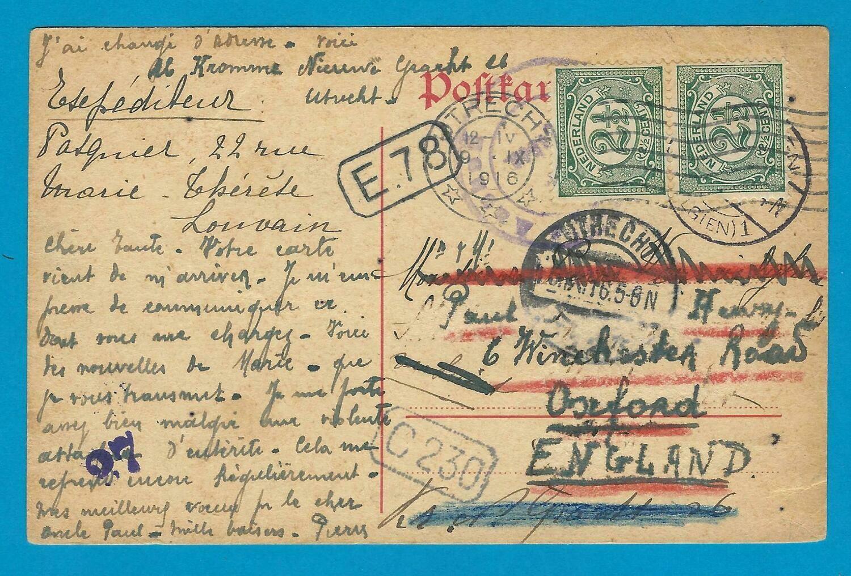 NEDERLAND briefkaart Belgie naar Utrecht en doorgestuurd