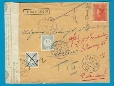 NEDERLAND brief 1940 Rotterdam naar Baarn beport en retour