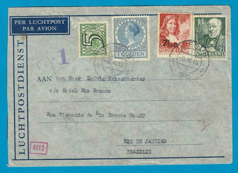 NEDERLAND gecensureerde Lati brief 1940 Bussum naar Brazilië