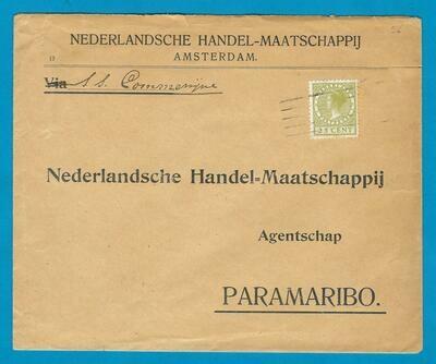 NEDERLAND scheepsbrief 1926 (?) met 5 strepen stempel Paramaribo