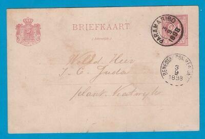 SURINAME briefkaart 1898 Paramaribo naar plantage Katwijk