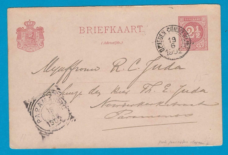 SURINAME briefkaart 1902 Beneden Commewijne van Katwijk plantage