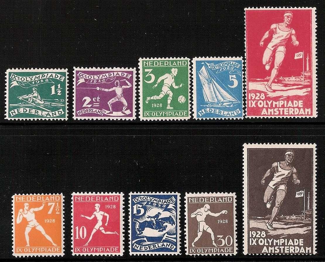 OLYMPIADE 1928 set * ongebruikt + 2 vignetten