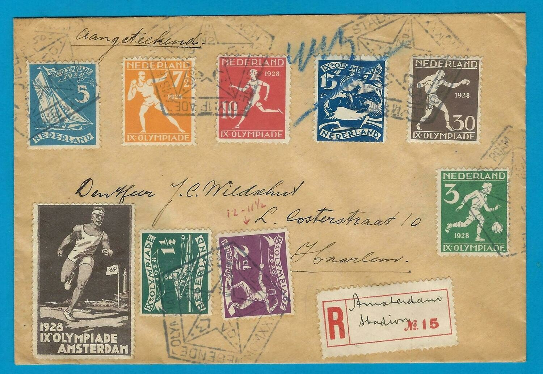 OLYMPIADE 1928 R brief met geschreven R strookje