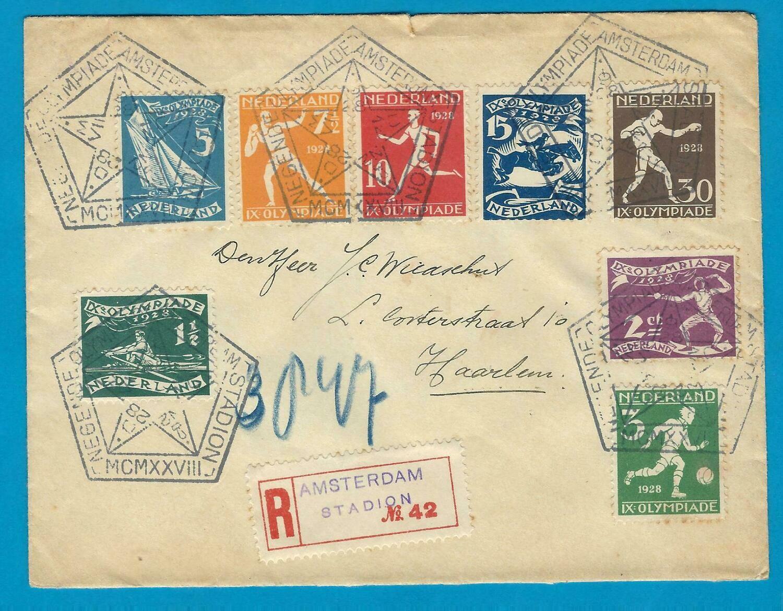 OLYMPIADE 1928 R brief met gestempeld R strookje