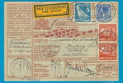 NEDERLAND postwissel 1928 Haarlem per 1e proefvlucht naar Indië