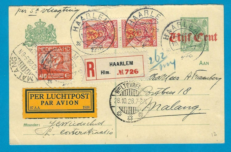 NEDERLAND R briefkaart 1928 Haarlem per 5e proefvlucht naar Indië